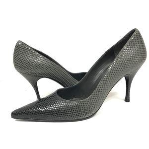 Stuart Weitzman Slip-on Pointy-Toe Snakeskin Heels